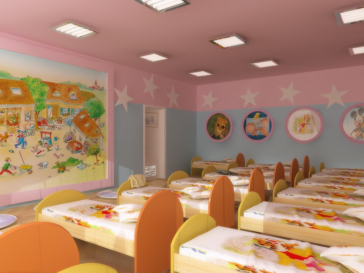 Картинка спальни для детей в детском саду