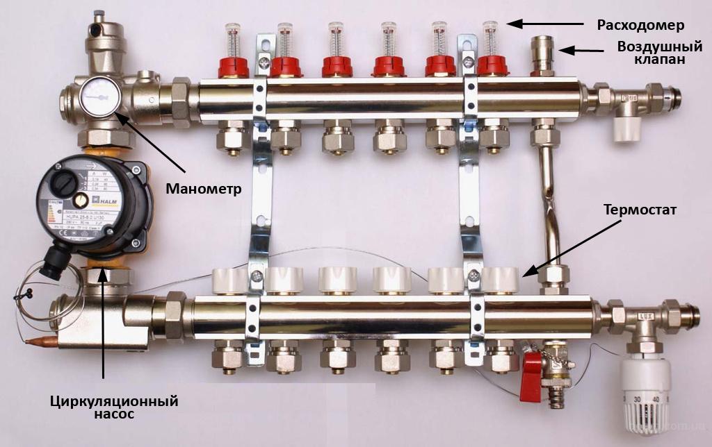 Схема коллектора теплого водяного пола фото 859