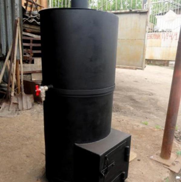 Печь для бани своими руками из металла с баком для воды чертеж