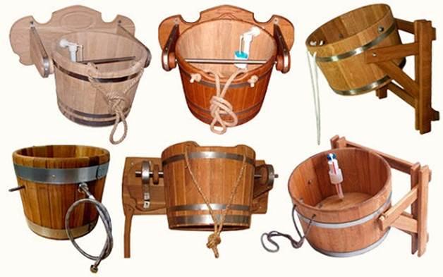 Обливное устройство для бани - купить деревянное обливное ведро в баню или сауну по цене от 6900 рублей