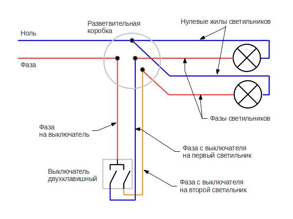 Схема подключения двух выключателей люстру фото 573