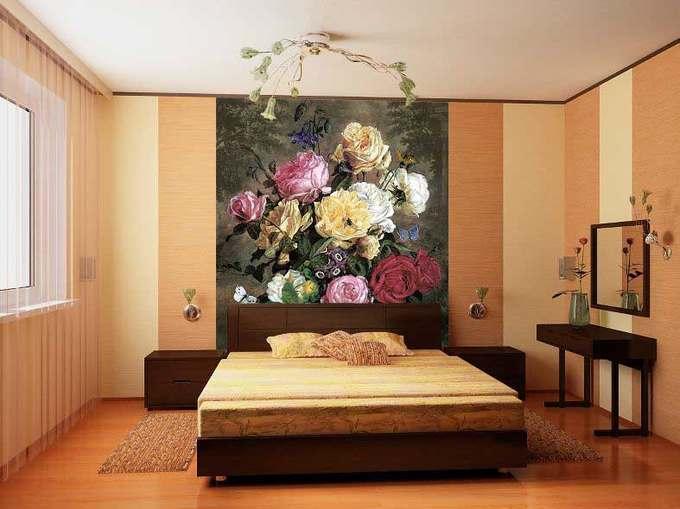интерьер спальни с обоями двух видов фото