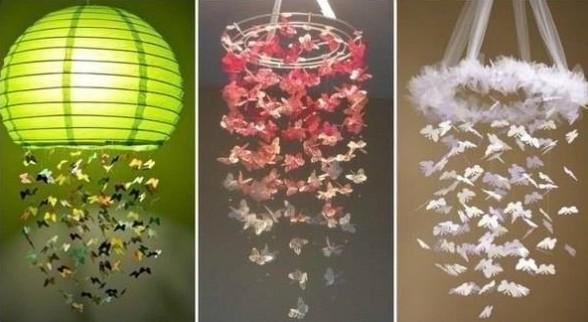 Люстры из бумажных бабочек