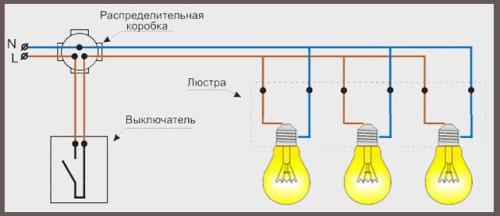 Электрическая схема подключения люстры фото 329