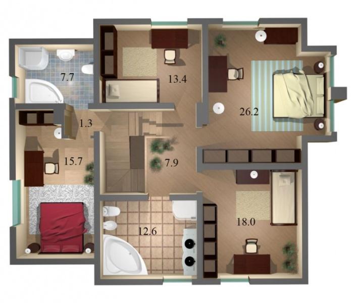 Схема расположения комнат в доме фото 583