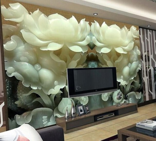 3d large bespoke floral wallpaper for the walls of the living room