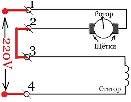 Схема подключения коллекторного электродвигателя