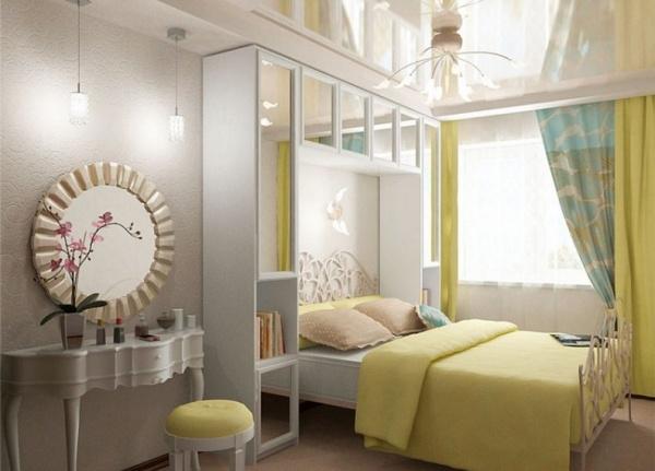 красивый дизайн маленькой спальни в хрущевке C фото