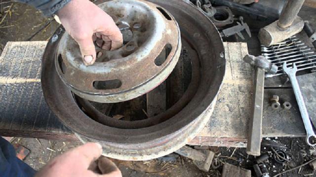 Печь для бани из колесных дисков