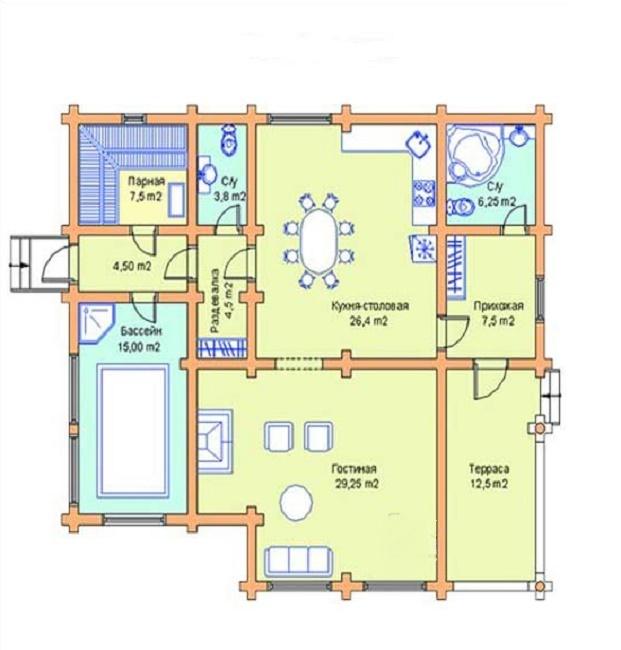 Проекты больших одноэтажных бань