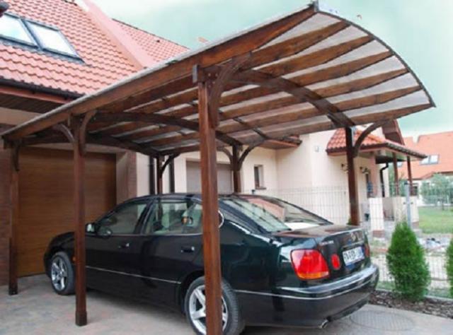 Навес из дерева для машины своими руками
