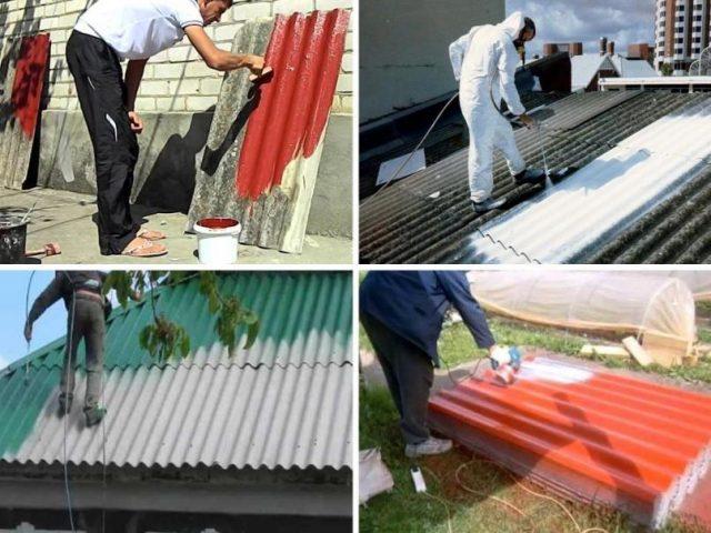 Покраска шифера на крыше и фасаде дома