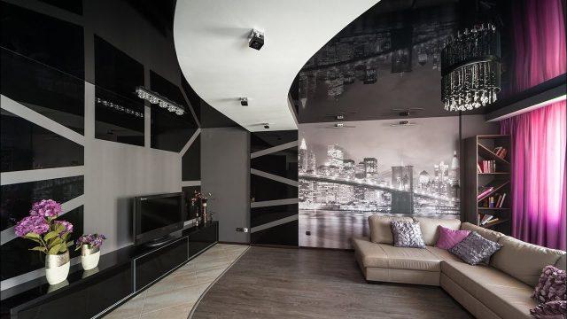 Черно-белый натяжной потолок: фото в интерьере