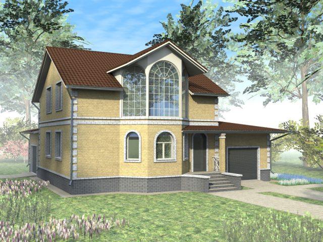 Дом с эркером и мансардой: из бруса, каркасные, проекты, фото