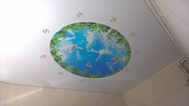 Круглый натяжной потолок: особенности и фото