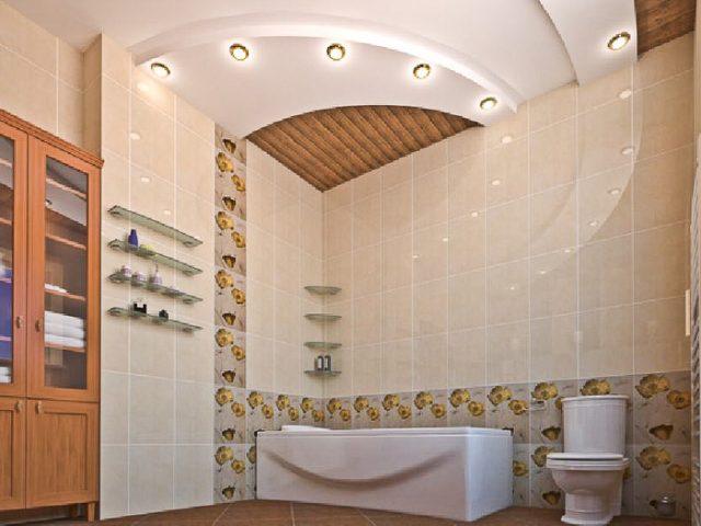 Потолок из гипсокартона в ванной комнате: фото и отзывы