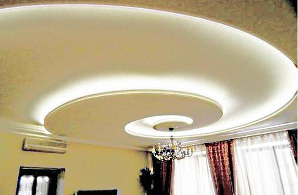 Парящий потолок из гипсокартона с подсветкой: схемы и фото