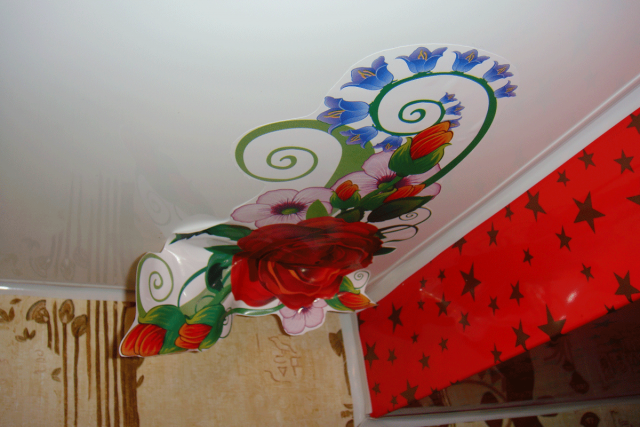 Наклейки на натяжные потолки: как выбрать, виды и фото