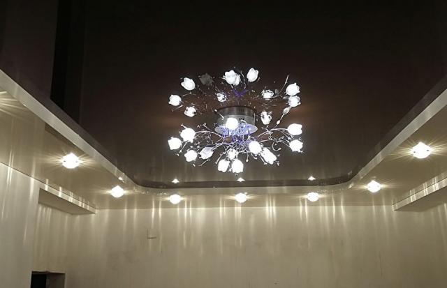 Натяжные потолки двухуровневые: как делают без гипсокартона, фото и видео