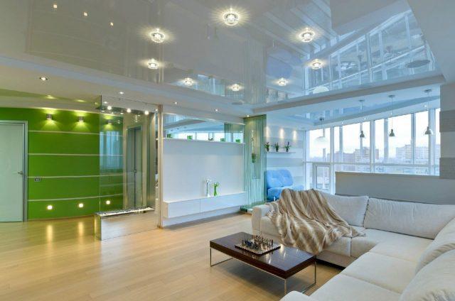 Белый глянцевый натяжной потолок: виды, варианты конструкций, отзывы и фото