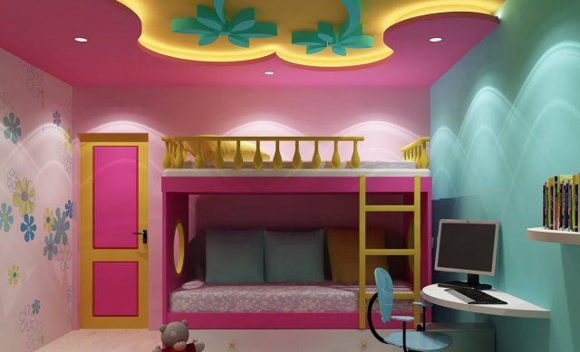 Потолок из гипсокартона в детской комнате: идеи и фото