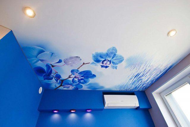 Натяжные потолки с фотопечатью: фото в зале, детской и гостиной, вида арт-печати