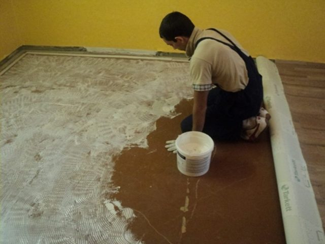 Клей для линолеума на бетонный пол: какой выбрать и как приклеить