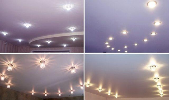 Точечные лампочки для натяжных потолков: варианты дизайна, размеры, фото и отзывы