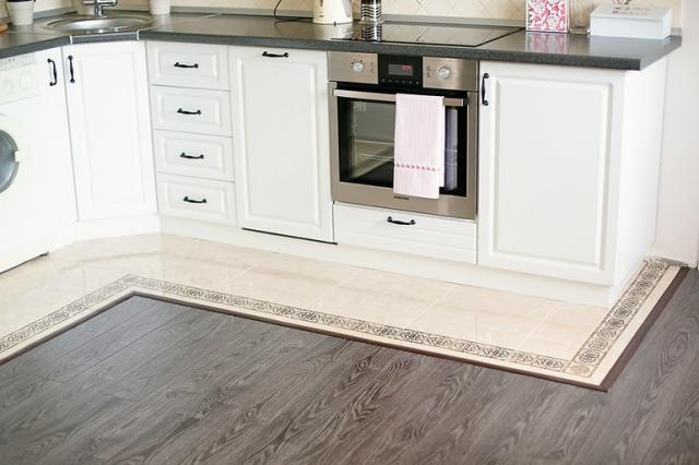Плитка с ламинатом на кухне: фото в интерьере, варианты сочетания