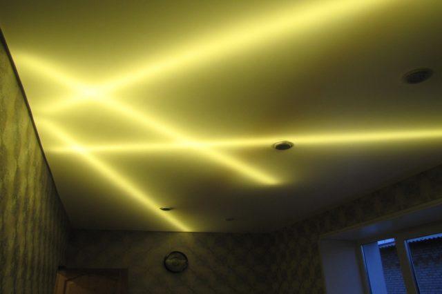 Натяжной потолок со светодиодной лентой: установка своими руками, фото и видео