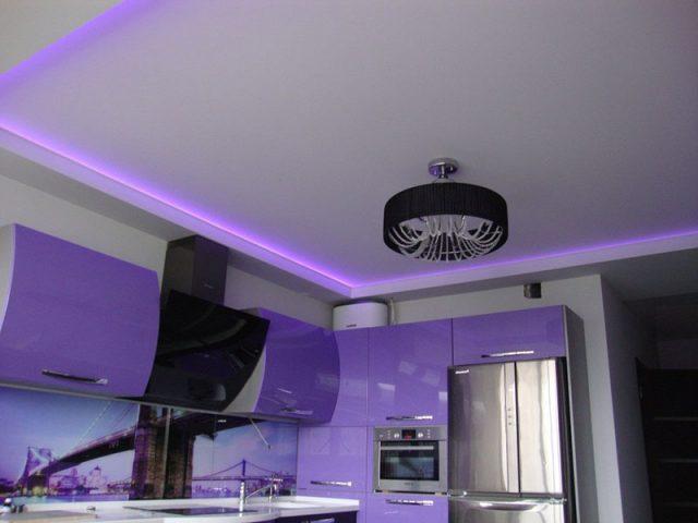 Натяжной двухуровневый потолок на кухне: глянцевый, матовый, дизайн и фото