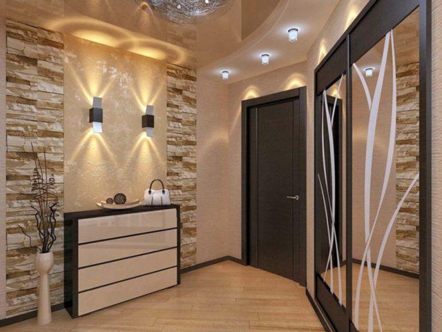 Натяжной потолок в коридоре: длинном, квадратном, узком и г-образном