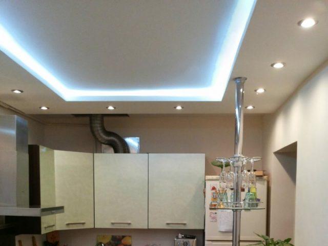 Потолки из гипсокартона на кухне: идеи, фото, варианты отделки