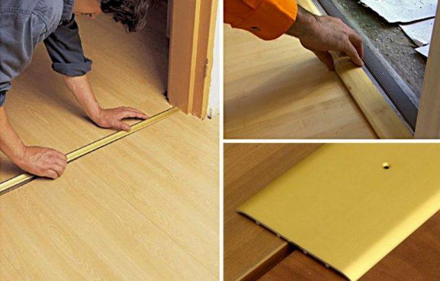 Отделка дверного проема ламинатом: как положить пол на стыке своими руками