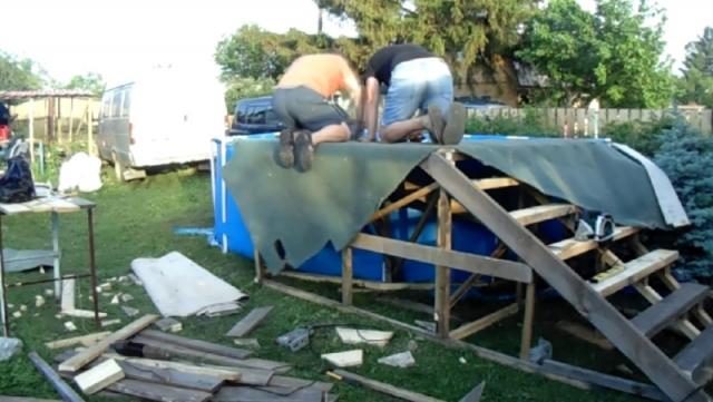 Как сделать подиум для бассейна на даче своими руками