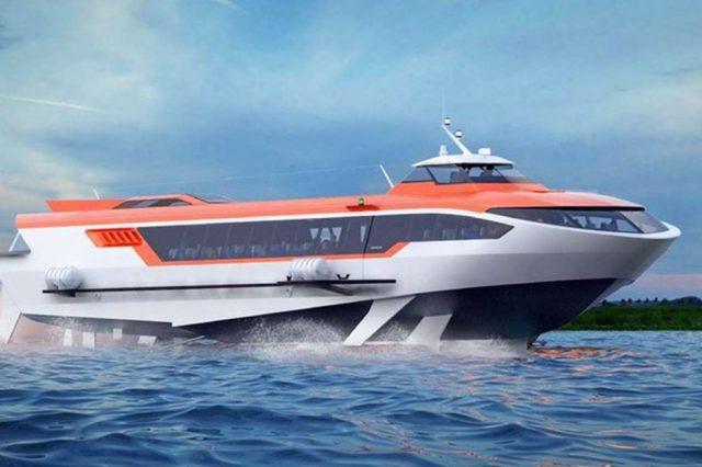 Спуск на воду новейшего судна на подводных крыльях «Метеор 120Р»