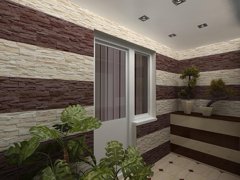 Фото отделки балкона декоративными стеновыми панелями..