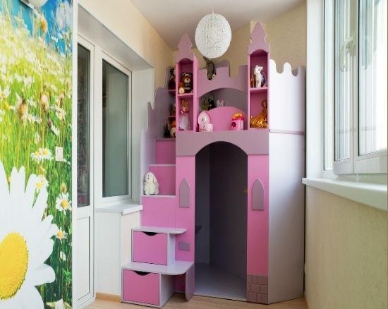 Фото балкона детской для девочки.