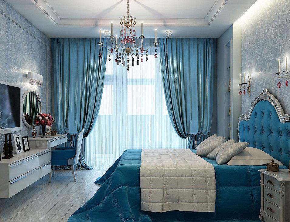 Шторы в спальню голубые