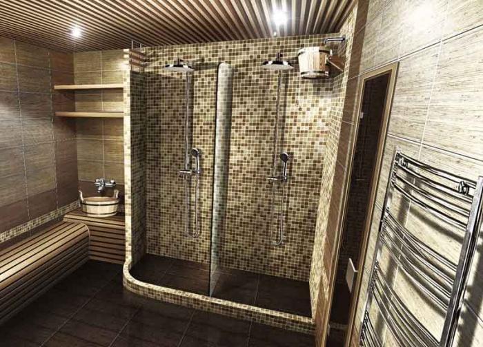 Душ в помывочной бани