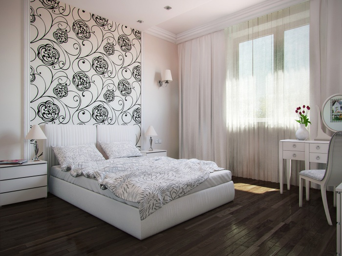 Фото спален с комбинированием обоев маленьких спален 8