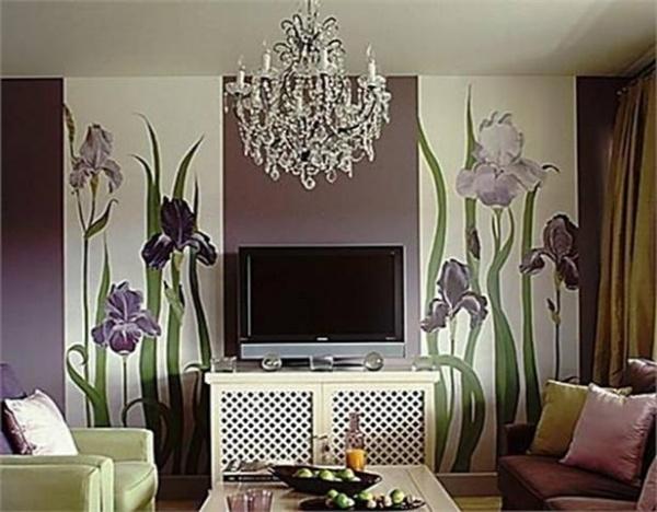 Дизайн интерьера в зале с фотообоями