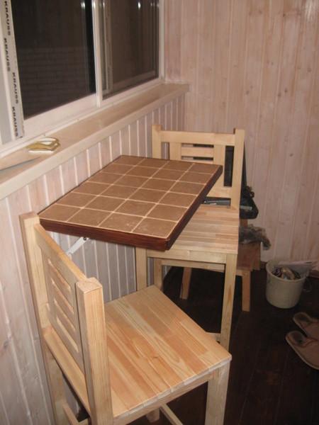 Стол и стул на балкон своими руками 1056