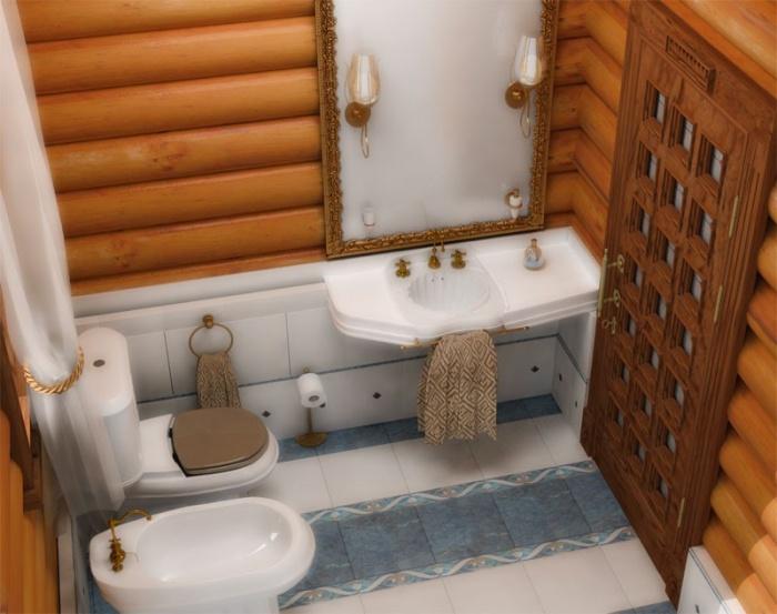 Koupelna na dřevěném stropě
