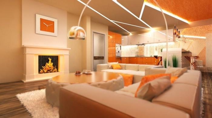 Дизайн гостиной, совмещенной с кухней 18, 20, 25 кв м фото