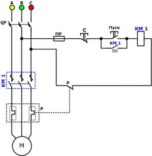 Схема магнитного пускателя 220 фото 307