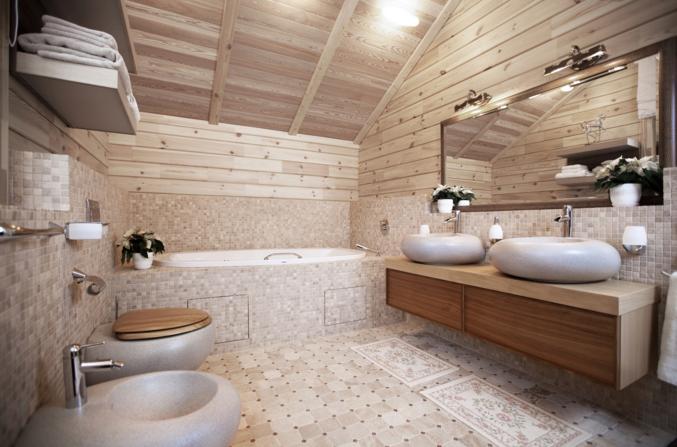 Дизайн санузел в деревянном доме