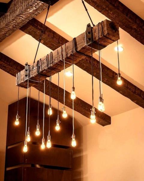 Дизайны деревянных люстр