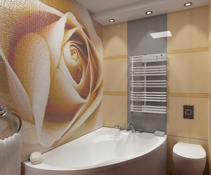 Дизайн ванной ванной комнаты с панно