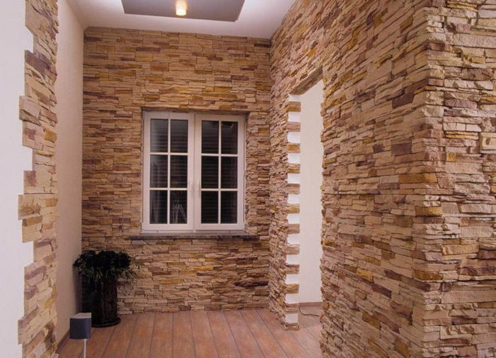 каменные обои в интерьере фото